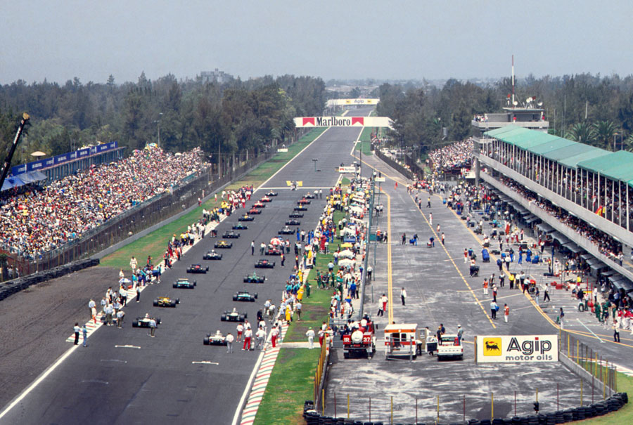 Cars line up on the grid for the start of the race