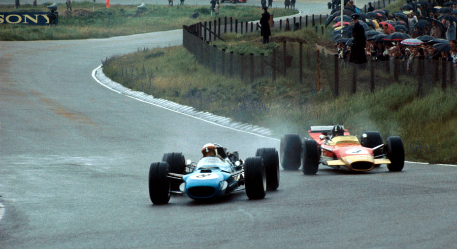 Jackie Stewart leads Graham Hill on his way to winning the Dutch Grand Prix