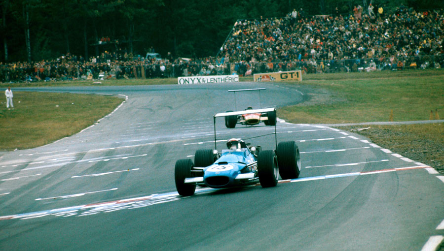Jackie Stewart leads from Graham Hill