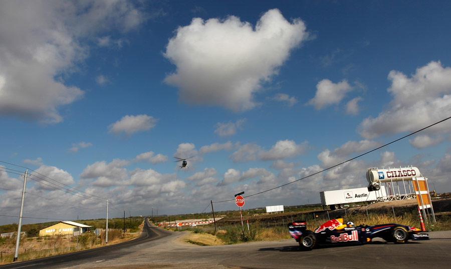 David Coulthard puts the Red Bull show car through its paces in front of Circuit of the Americas race track