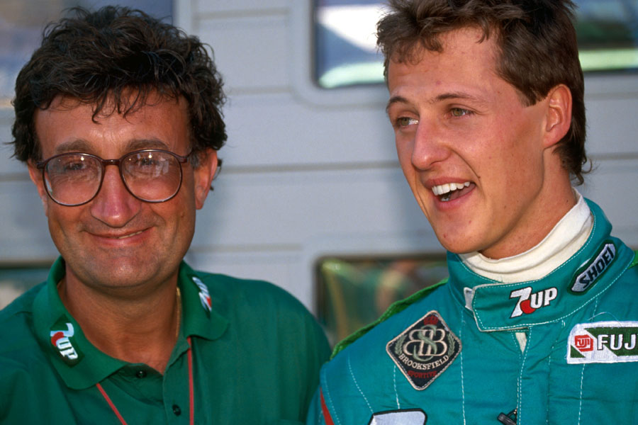 Eddie Jordan with Michael Schumacher on his debut