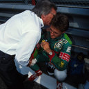 Bernie Ecclestone welcomes Michael Schumacher on to the F1 grid