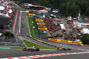 Lewis Hamilton leads the field through Eau Rouge at the start, Belgian Grand Prix Spa, August 29, 2010