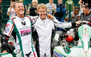 Michael Schumacher and Sebastian Vettel pose before a race to celebrate 50 years of the Kart Club Kerpen