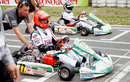 Michael Schumacher and Sebastian Vettel on the grid before a race to celebrate 50 years of the Kart Club Kerpen