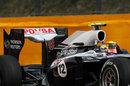 Pastor Maldonado's Williams sporting a new rear wing for Spa