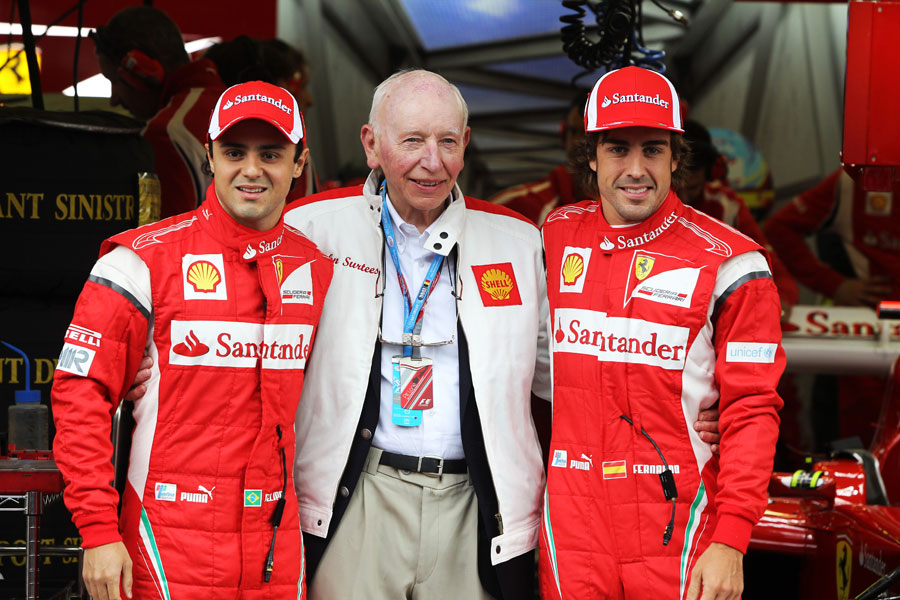 John Surtees with Felipe Massa and Fernando Alonso on Saturday morning