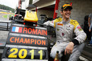Romain Grosjean  celebrates his GP2 title win