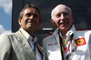 Former F1 drivers Jacky Ickx and John Surtees, the 1964 world champion, at Spa for the Belgian Grand Prix