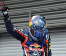 Sebastian Vettel celebrates winning the Belgian Grand Prix