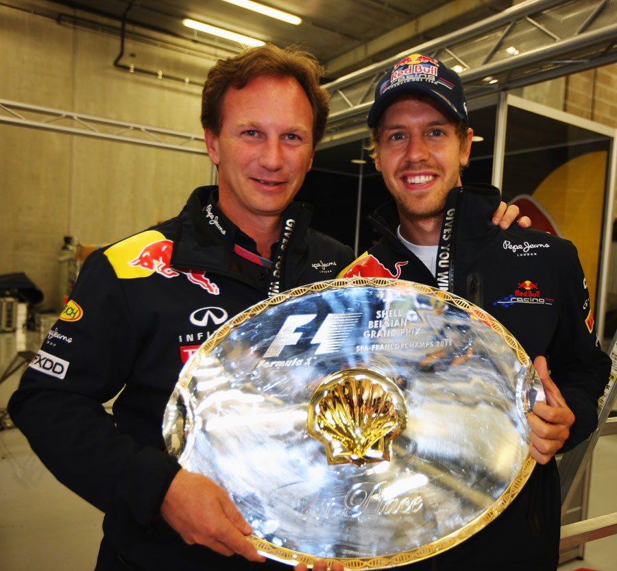 Sebastian Vettel celebrates with Christian Horner