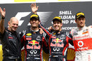 Adrian Newey joins the top three on the podium, Belgian Grand Prix, Spa-Francorchamps, August 28, 2011