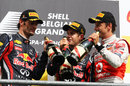 The top three enjoy a drink, Belgian Grand Prix, Spa-Francorchamps, August 28, 2011