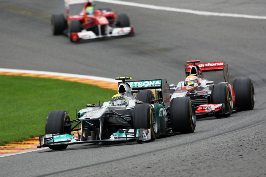 Nico Rosberg leads Lewis Hamilton