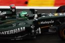 Heikki Kovalainen in action during qualifying