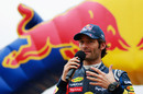 Mark Webber talks to the Cardiff crowd at the Red Bull Speed Jam event