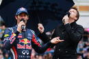 Mark Webber talks to BBC commentator Jake Humphrey at the Red Bull Speed Jam event