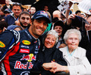 Mark Webber has his photograph taken with fans at the Red Bull Speed Jam event