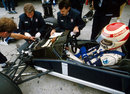 Charlie Whiting and Gordon Murray work on Nelson Piquet's Brabham