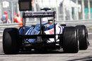 Pastor Maldonado makes his way out on to the circuit