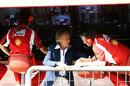 Luca di Montezemolo talks to Pat Fry on the Ferrari pit wall