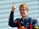 Sebastian Vettel celebrates his tenth pole position of the season