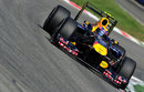 Mark Webber attacks the Ascari chicane with his DRS open