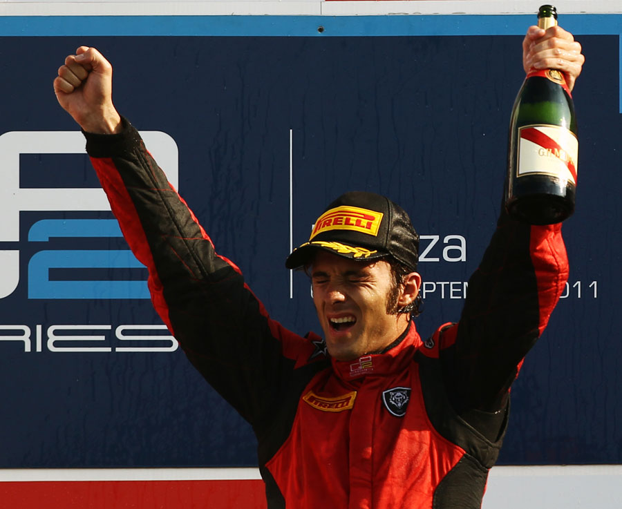 Luca Filippi celebrates victory in front of his home fans