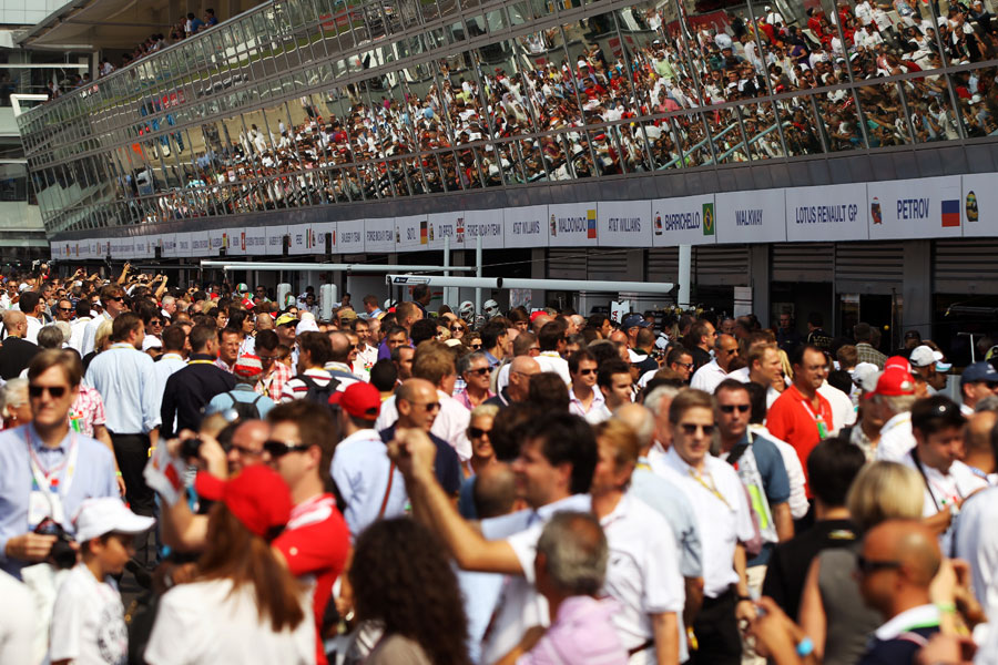 Fans in the pit lane before the race