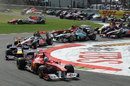 Fernando Alonso leads as Tonio Liuzzi heads for a big accident