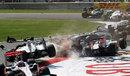 Tonio Liuzzi sideswipes Vitaly Petrov and Nico Rosberg