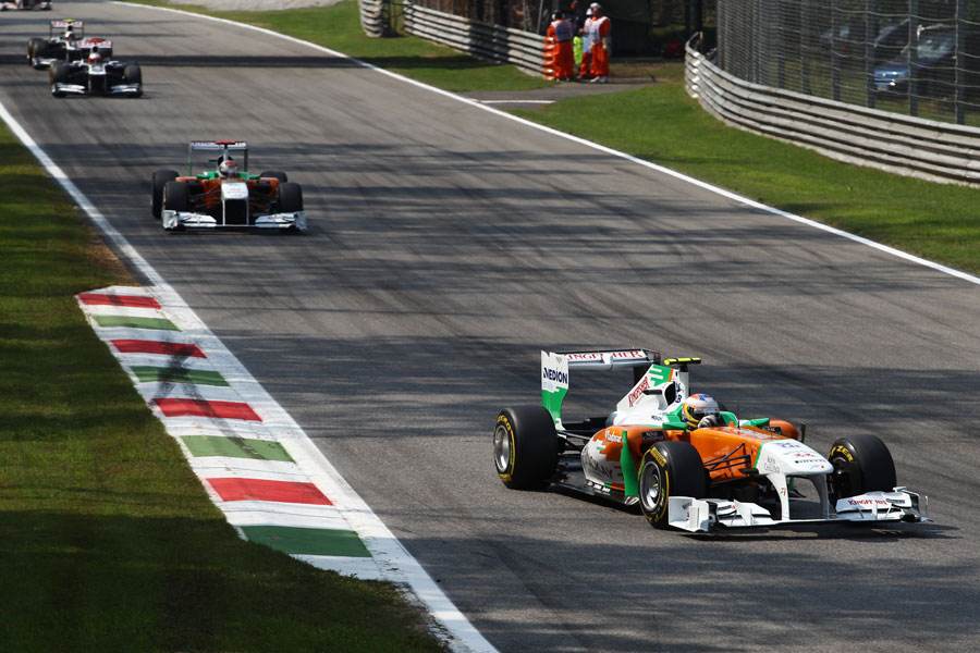 Paul di Resta leads team-mate Adrian Sutil