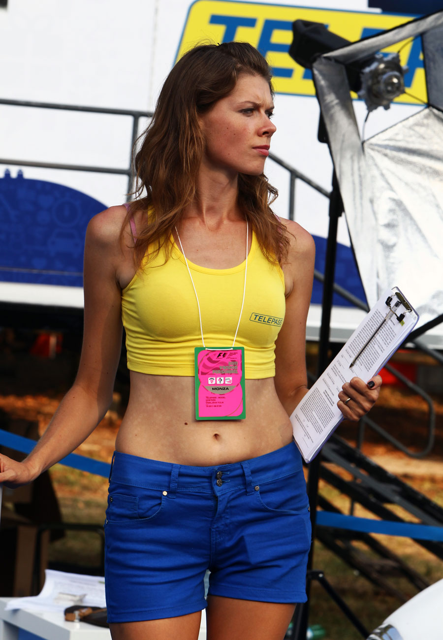 A promo girl in the paddock