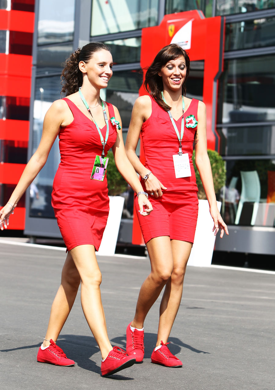 Promo girls in the paddock