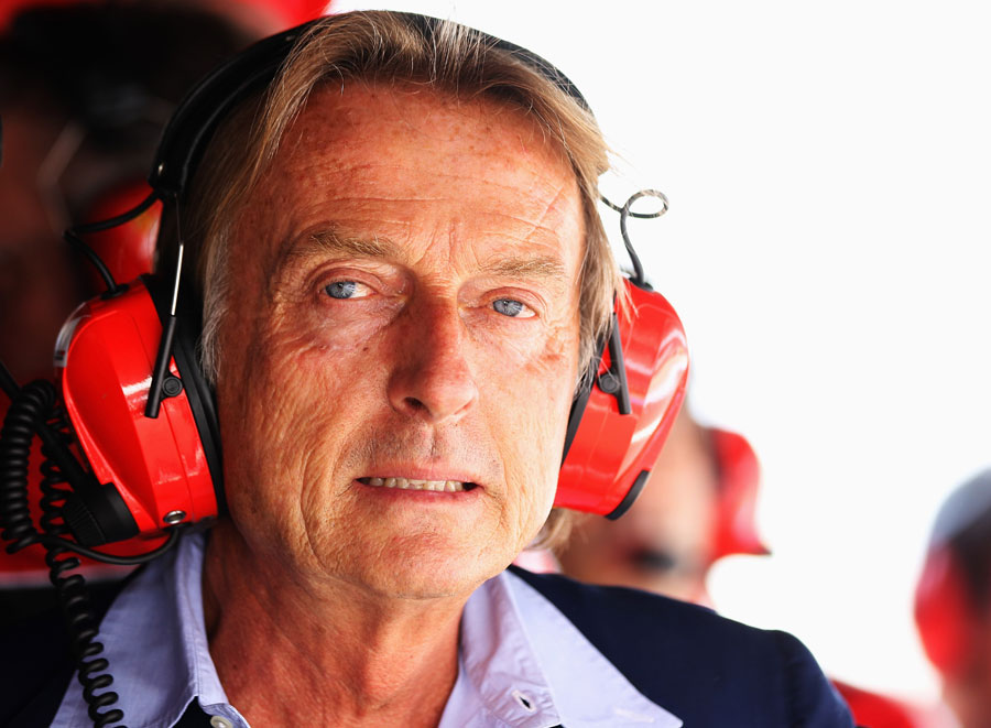 Luca di Montezemolo on the Ferrari pit wall during qualifying