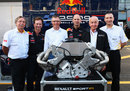 Jean Francois Caubet, Christian Horner, Carlos Tavares, Adrian Newey, Bernard Rey and Rob White at the announcement of the new deal between Red Bull and Renault