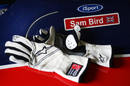Sam Bird's gloves on the side of his iSport car