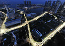 Lighting for the Singapore Grand Prix being tested ahead of the race weekend