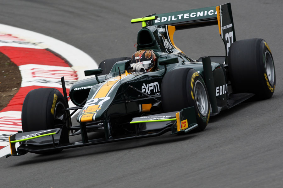 Davide Valsecchi on track in the Caterham
