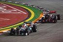 Michael Schumacher heads Lewis Hamilton
