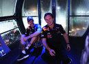 Sebastian Vettel and Christian Horner celebrate on the Singapore Flyer