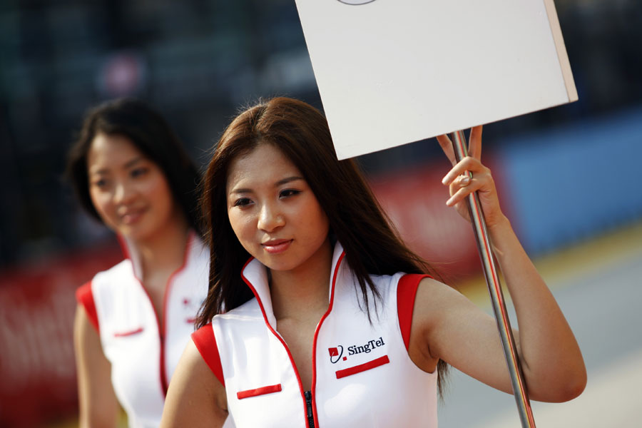 Grid girls ahead of a support race