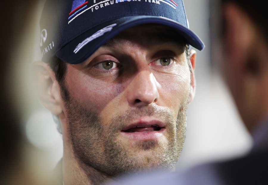 Mark Webber faces the press after the race