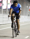 Karun Chandhok cycles the track on Thursday night