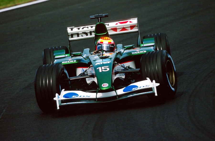 Antonio Pizzonia holds a huge slide in the Jaguar
