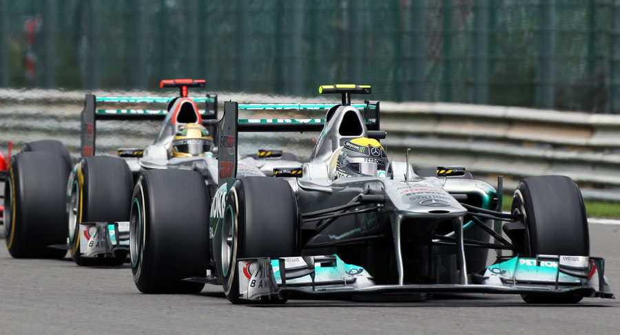 Michael Schumacher lines up Mercedes team-mate Nico Rosberg