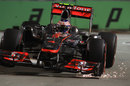 Sparks fly as Jenson Button attacks the turn 10 chicane