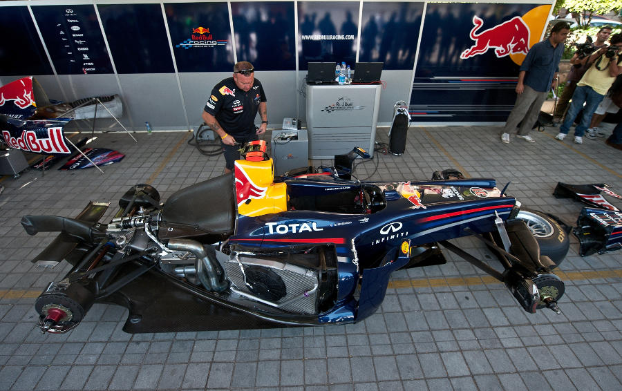 Red Bull builds a showcar ahead of its demonstration run in New Delhi