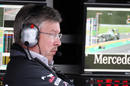 Ross Brawn deep in thought on the Mercedes pit wall