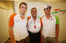 Vijay Mallya poses with Adrian Sutil and Paul di Resta after Force India's double points finish